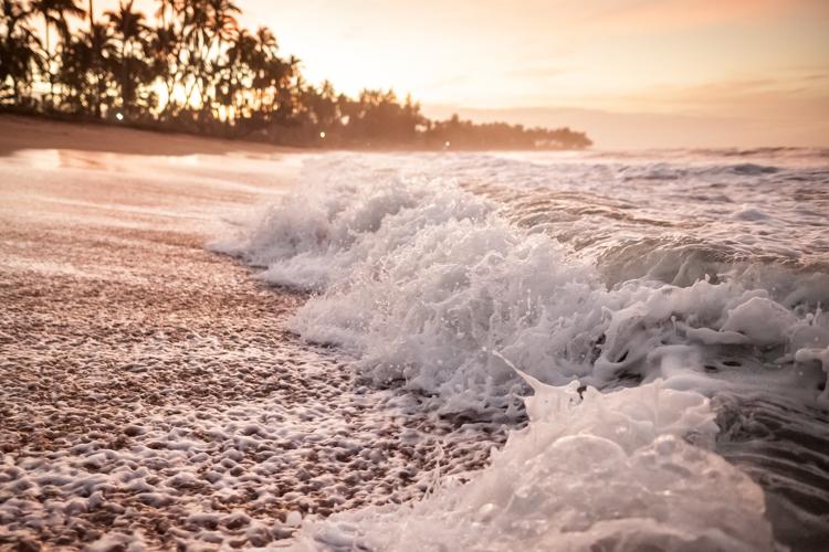 Close-up of waves at sunset at Cabarete Beach