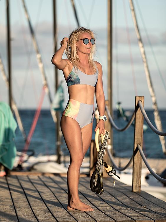 Georgina Monti wearing a Pearlkini bikini and sunglasses at Necker Island kite beach